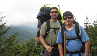 Joshua Trek hikers pictured with their backpacks.